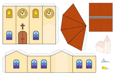Church template, paper craft model. Cut-out sheet for making a simple 3d scale model church with colorful windows, belfry, tower clock and shingle roofs. 向量圖像