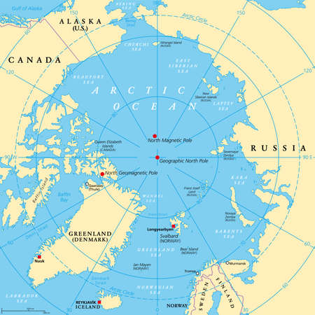Geographic position of the North Pole of the Earth, political map. Magnetic, Geomagnetic and Geographic North Pole. Map of the Arctic Ocean and the Arctic Circle with latitudes and longitudes. Vector.