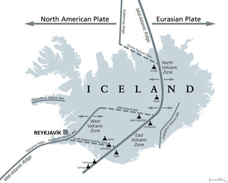 Geology of Iceland, gray political map. Iceland lies on the divergent boundary between Eurasian plate and North American plate. Map with volcanic zones and belts, ridges and main volcanoes. Vector.