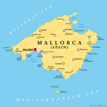 Mallorca political map, with capital Palma and important towns. Majorca, largest Island of the autonomous community of the Balearic Islands, and part of Spain, located in the Mediterranean Sea. Vector