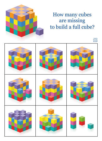 Missing cubes. How many gaps, holes, blanks are there to get a full cube? 3d spatial perception exercise. Colorful counting game with solution. Vector illustration on white. Vetores