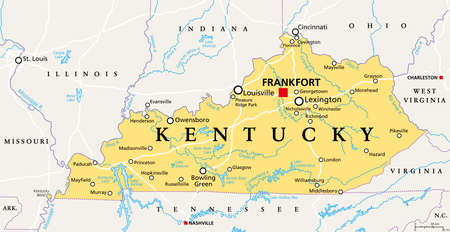 Kentucky, KY, political map with capital Frankfort and largest cities. Commonwealth of Kentucky. State in the Southeastern region of the United States of America. Bluegrass State. Illustration. Vector
