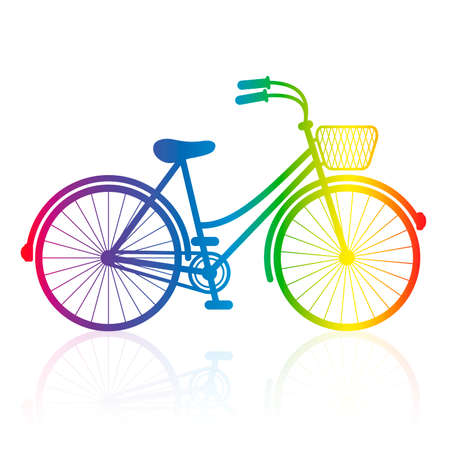 Ladies bike, rainbow gradient colored bicycle with wire basket. Isolated vector illustration on white background.
