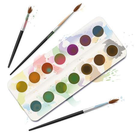 Used watercolor paint box - spotty, blotchy, soiled, spilled, dirty with frayed brushes. Isolated vector illustration on white background.