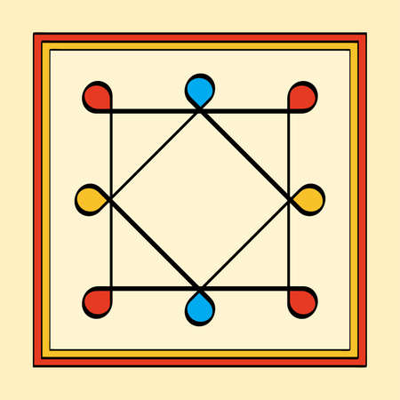 Colored Ring of Solomon in a square frame, a yantra on yellowish background. Two overlapping squares with eight looped corners. Ancient symbol, used as protection on a ring, amulet or talisman. Vector