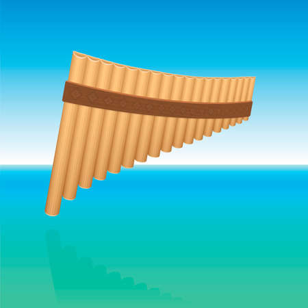 Pan flute floating above ocean water, symbolic for tranquil, meditative, peaceful music. Woodwind instrument for contemplation, inner peace, harmony and balance. Vector. Vector Illustratie
