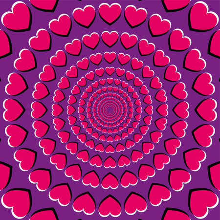 Motion illusion with heart symbols. Peripheral drift illusion, made of pink hearts on a purple background. It seems, the hearts are moving and drifting to the center, while you move your eyes. Vector.
