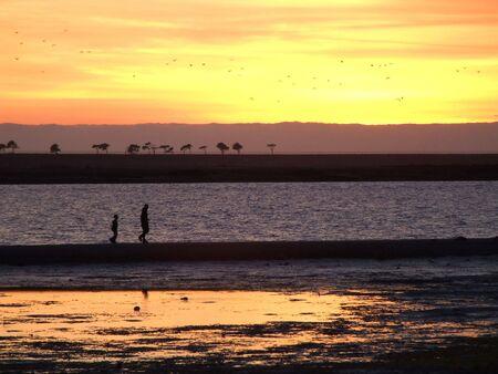 Two unidentified people walk along an exposed sandbar at low tide.  San Diego Bay, near the Chula Vista Marina.