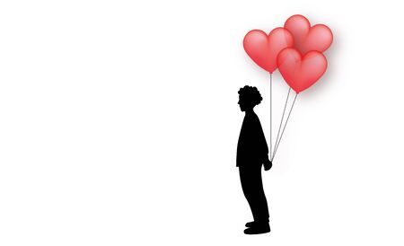 Valentines motive with red balloons on white background with copy space. Silhouette of man waiting for his girl