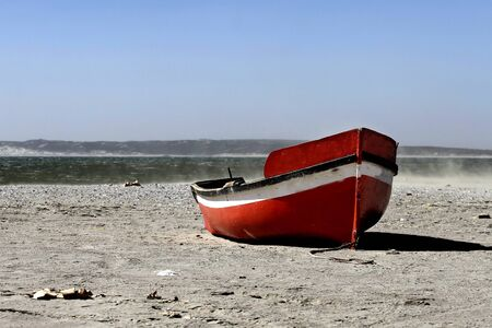 Boat on beach in cape town south africa