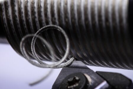 close up of metal cutting on lathe with metal carving off