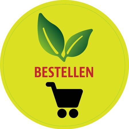 green online shopping and e-commerce card button German