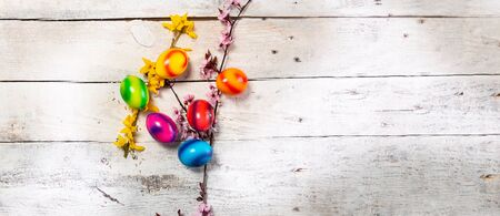 colored easter egg on wood background with copy space
