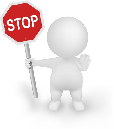 warn: 3d Man Vector holding STOP sign with halt hand gesture