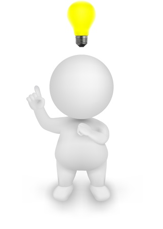 3d Man Illustration having an idea with discover gesture and lightbulb above his head.