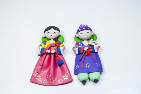 doll Male and female Korea traditional souvenir On a white background Banco de Imagens - 26980048