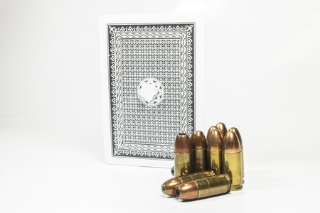 Pocky cards, ammunition, fishing, snooker  on white background. photo