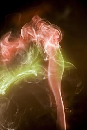 steamy: colorful  smoke on black background