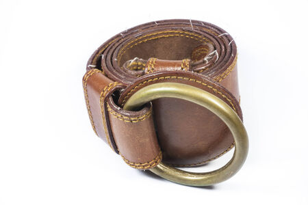 embossment: Brown leather belt  on a white background.