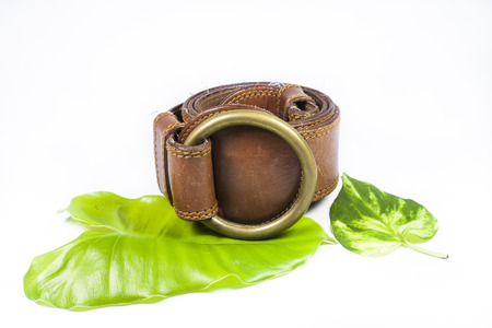 Brown leather belt  on a white background. photo