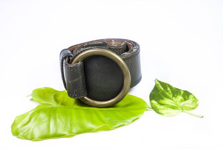 Black leather belt  on a white background. photo