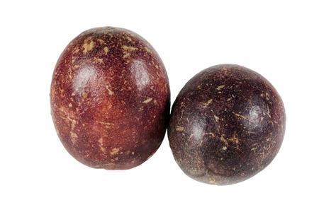 Fresh passion fruit on white background photo