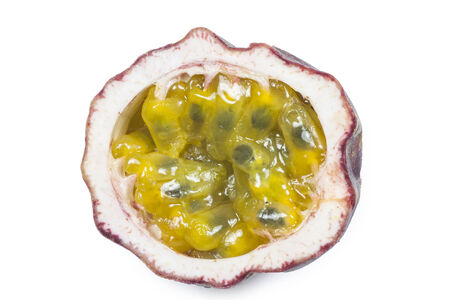 Fresh passion fruit on white background photo
