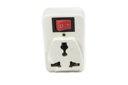 three prong electrical power outlet on white background photo