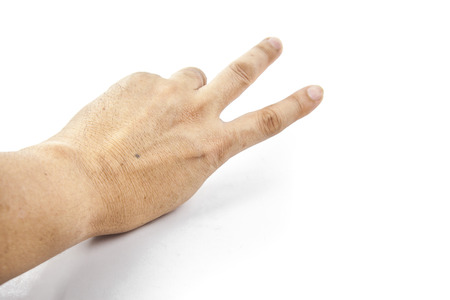 dictatorial: a hand photo on  white background. Stock Photo