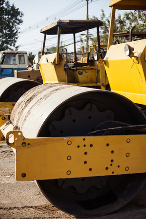 asphalting: Road roller Stock Photo