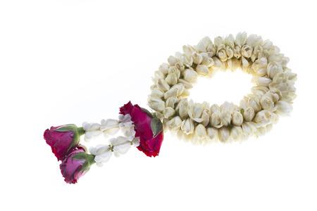 malai: Flower wreath thailand mothers day on white  Stock Photo