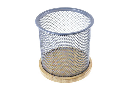 Mesh basket on a white background. photo