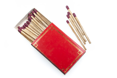consumable: Matches in red box on  white background. Stock Photo