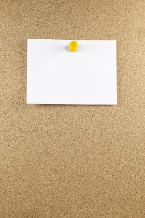 Blank white note papers is pinned to a cork board. photo