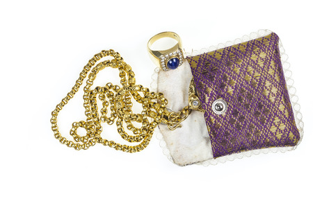Thailand gold jewelry pouch pattern. photo