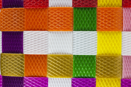 beach wrap: woven plastic line background texture Stock Photo