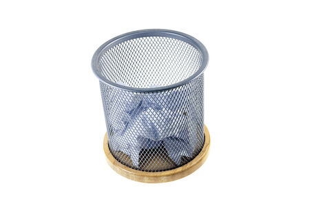 waste basket: Waste papers and basket on a white background. Stock Photo