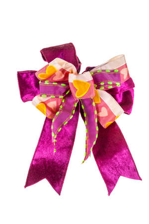 pink bow: Shiny pink bow on white background