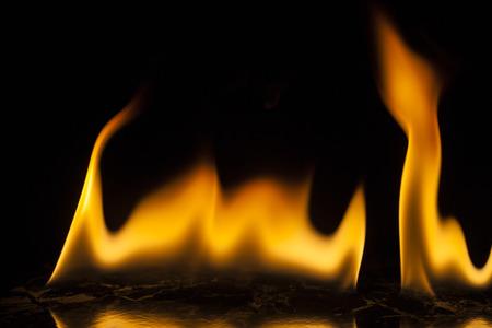 detonation: Fire flames on black background