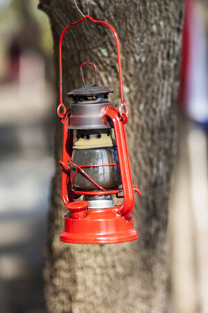 oil lamp: Red oil lamp.