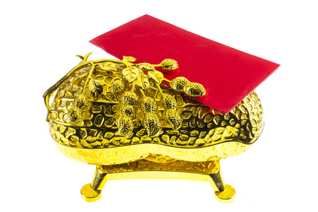 bucket of money: Chinese New Year  Red envelope and Ornament, bucket of gold Stock Photo