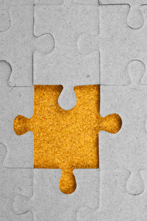 complete solution: Jigsaw puzzle. Stock Photo