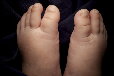 touching toes: Tiny foot of newborn.