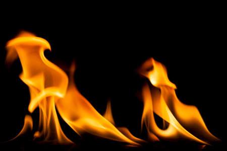 dynamic heat black: Fire flames on black .