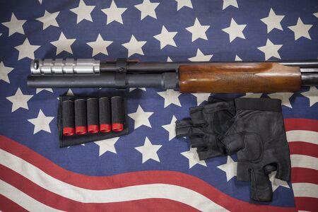 blunderbuss: Shotgun American flag background.