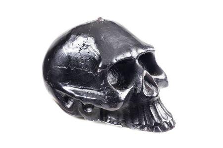 detestable: Black skull on a white background. Stock Photo