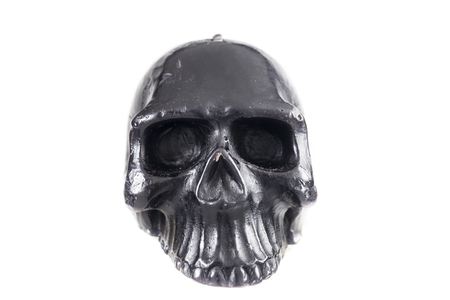 awful: Black skull on a white background. Stock Photo