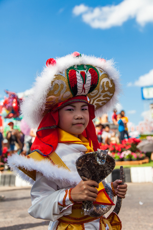 annual event: Udon Thani, Thailand on -1 December 2015, Udon Festival,The annual event parade on the streets, Chinese dragon during Udon Thani Shrine Annual Golden Dragon,Lion Parade, Udon Thani Shrine Year celebrations 2015