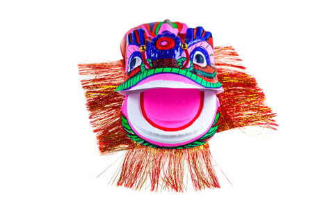 lion figurines: Traditional Lion Dancing on white background.