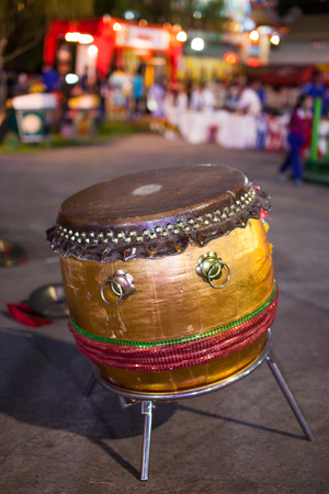 bongo drum: Wooden leather old drum.